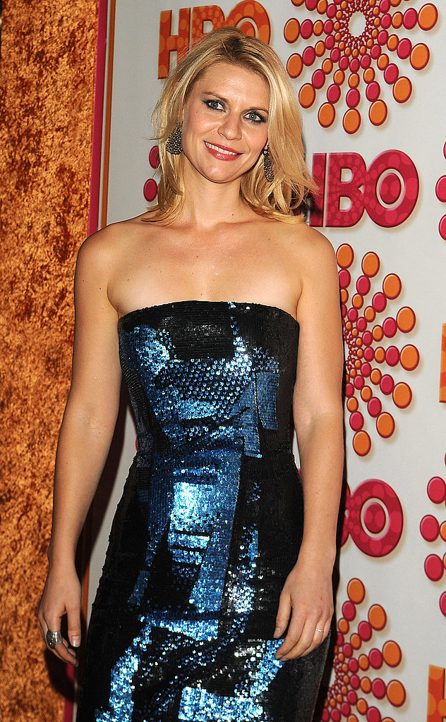 Claire Danes in a strapless gown.