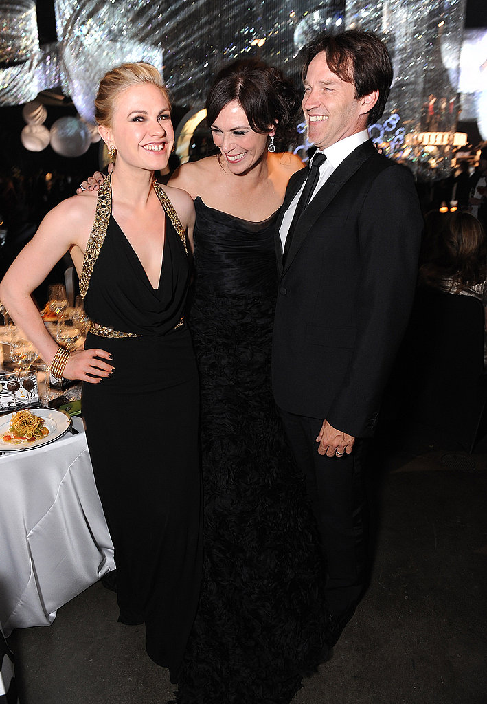 Michelle Forbes jumps in a pic with Anna Paquin and Stephen Moyer.
