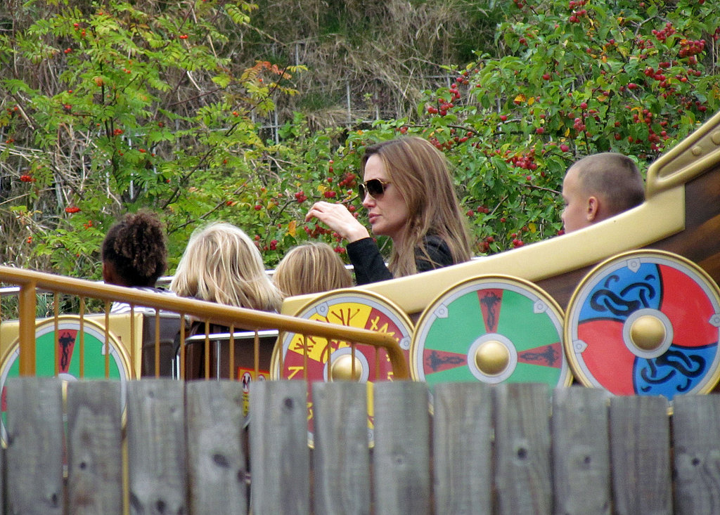 Angelina Jolie at Legoland with Zahara, and Knox.