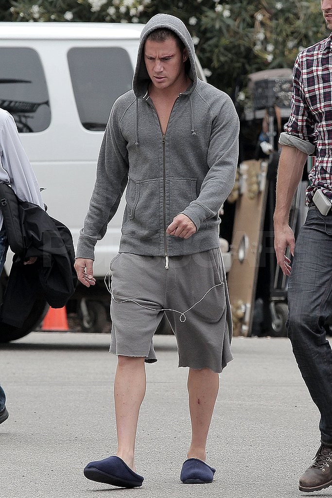 Channing Tatum covered up his ab situation under a gray hoodie.