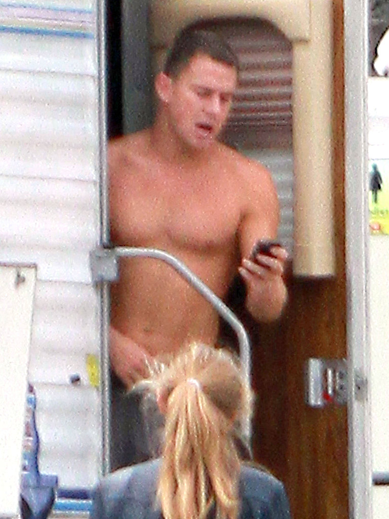 Channing Tatum stepped out of his trailer shirtless.