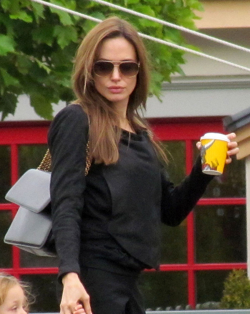 Angelina Jolie with coffee.