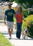Jon Hamm and Jennifer Westfeldt walk their dog in LA.