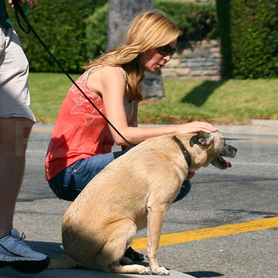 Jennifer Westfeldt with her dog.