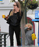 Knox Jolie-Pitt has a snack at Legoland.