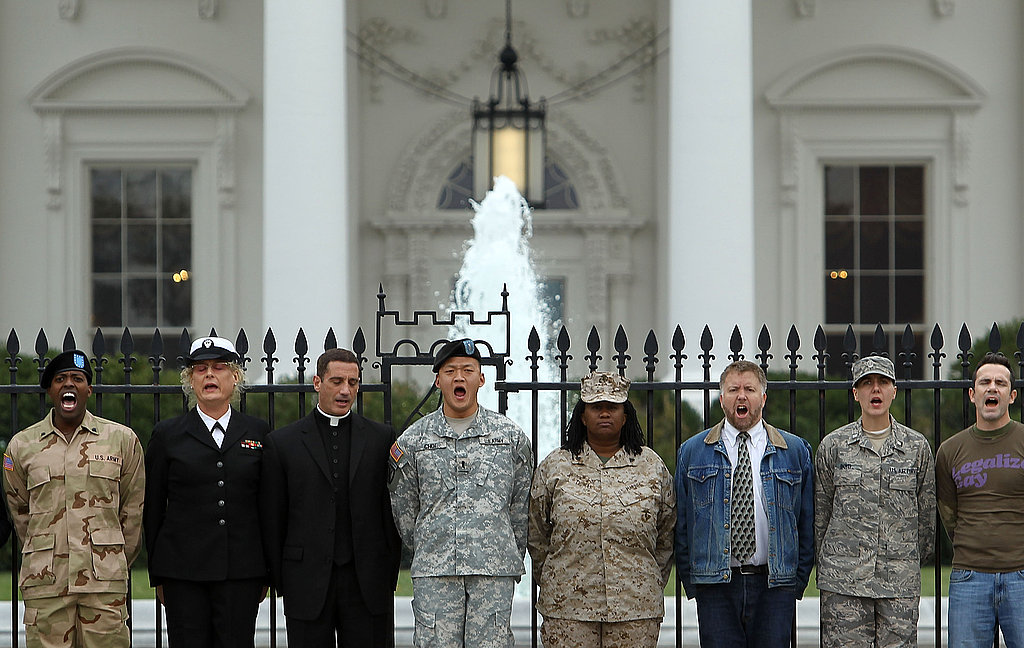 "Gay rights activists and gay veterans handcuff themselves to the White House to protest ""don't ask, don't tell"" in November 2010."