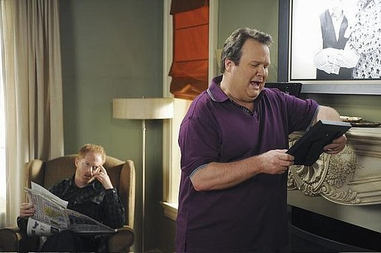Jesse Tyler Ferguson as Mitchell and Eric Stonestreet as Cam on Modern Family.  Photo copyright 2011 ABC, Inc.