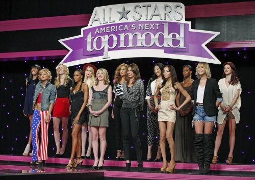 Lisa, Camille, Laura, Angelea, Isis, Alexandria, Bianca, Shannon, Allison, Dominique, Sheena, Bre, and Kayla lined up in front of the judges for the second elimination of the season.  Photo courtesy of The CW