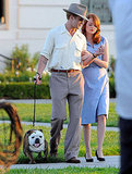 Ryan Gosling and Emma Stone cuddled while walking a dog for The Gangster Squad.