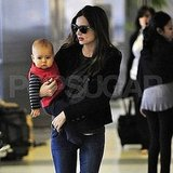 Miranda Kerr and son Flynn Bloom traveling together.
