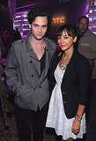 Penn Badgley and Rashida Jones hang out at the launch of the new HTC Rhyme Android smartphone.