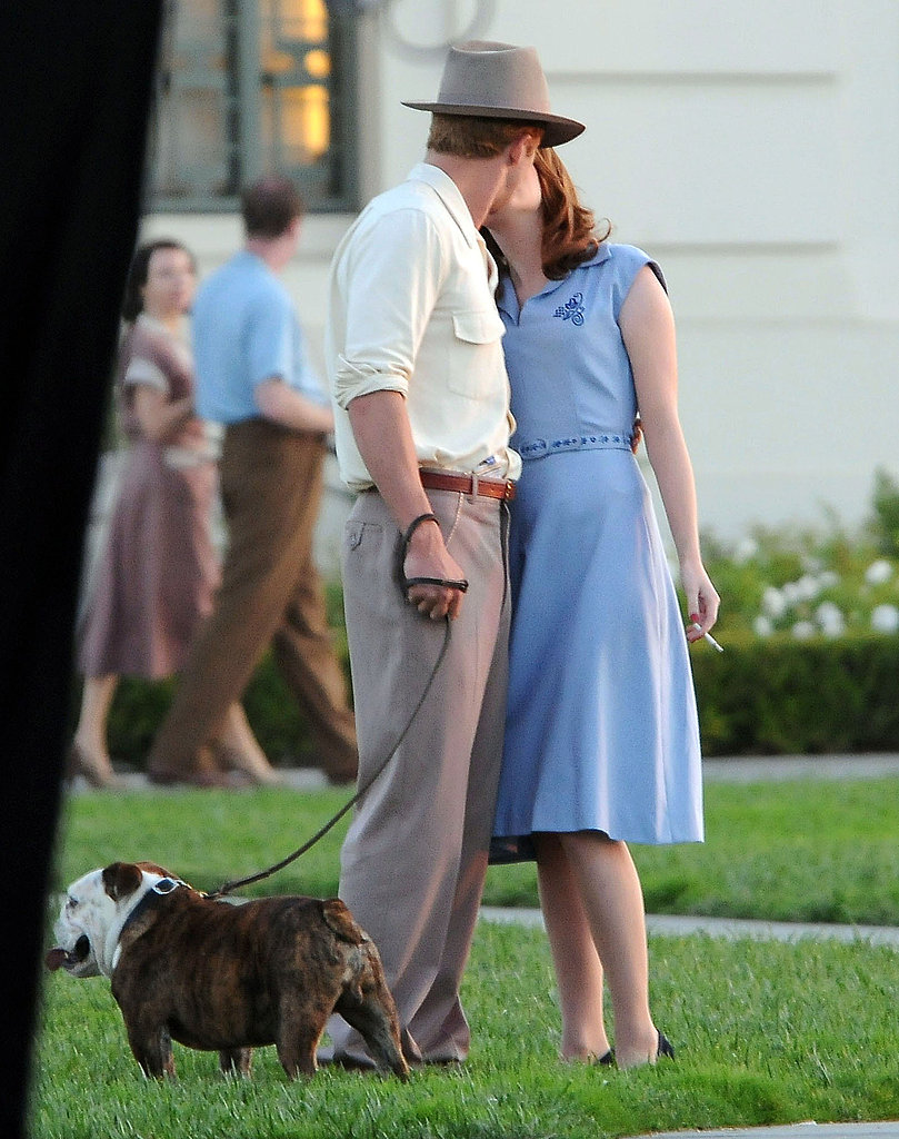 Ryan Gosling and Emma Stone kissed on a lawn for The Gangster Squad.