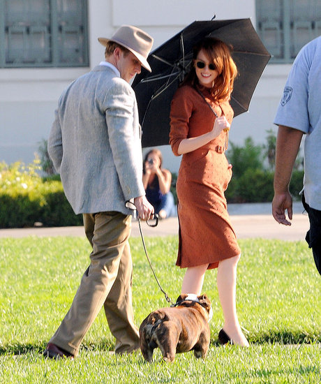 Emma Stone was all smiles on the The Gangster Squad set with Ryan Gosling.