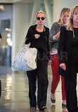 Nicole Richie wears all black at LAX.