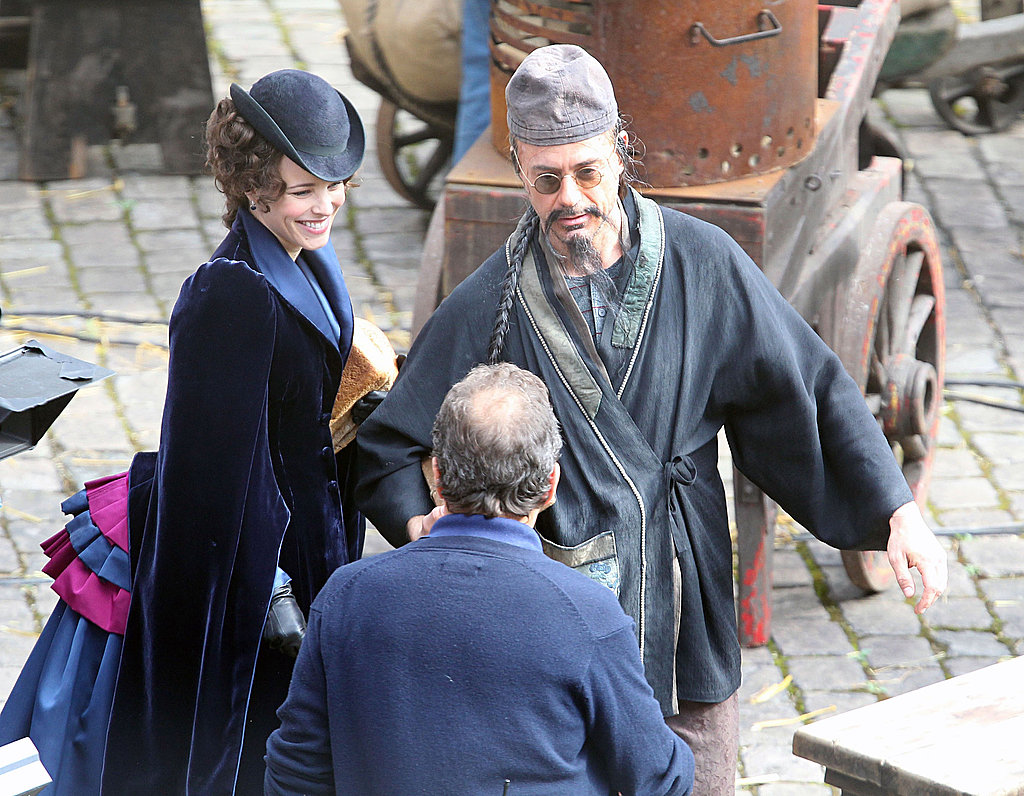 Robert wore a clever disguise on the set of Sherlock Holmes.