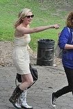 Kirsten wore rainboots on set.