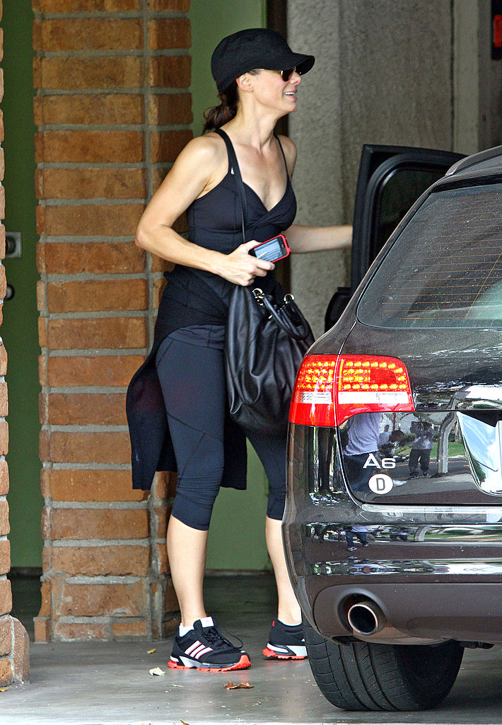 Sandra Bullock in her exercise ensemble.