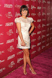 Lea Michele wore a short and sexy white dress to the luncheon.