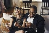 Eliza Coupe as Jane and Damon Wayans Jr. as Brad on Happy Endings.
