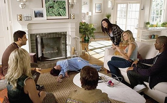 Adam Pally as Max, Megan Mullally as Dana, Casey Wilson as Penny, Eliza Coupe as Jane, and Damon Wayans Jr. as Brad on Happy Endings. Photo copyright 2011 ABC, Inc.