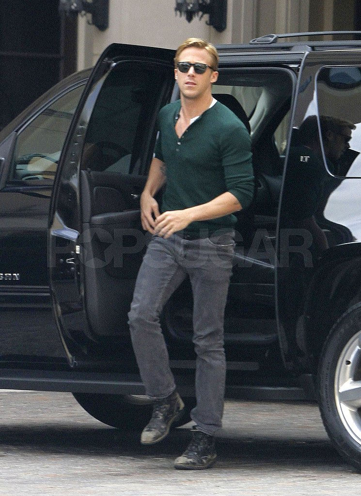 Ryan Gosling wore a green henley to a meeting in LA.