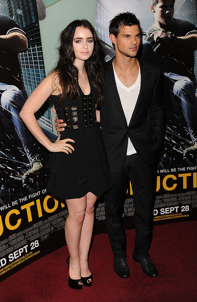 Taylor Lautner with Lily Collins at the Abduction premiere in London.