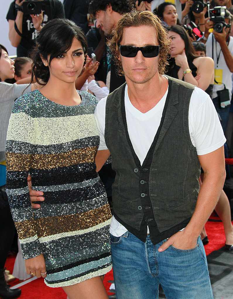 Matthew McConaughey kept his sunglasses on while walking the red carpet with Camila Alves.