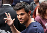 Taylor Lautner waved to fans in London.