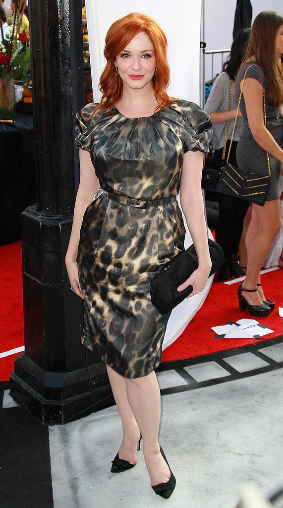 Christina Hendricks in a leopard-print dress.