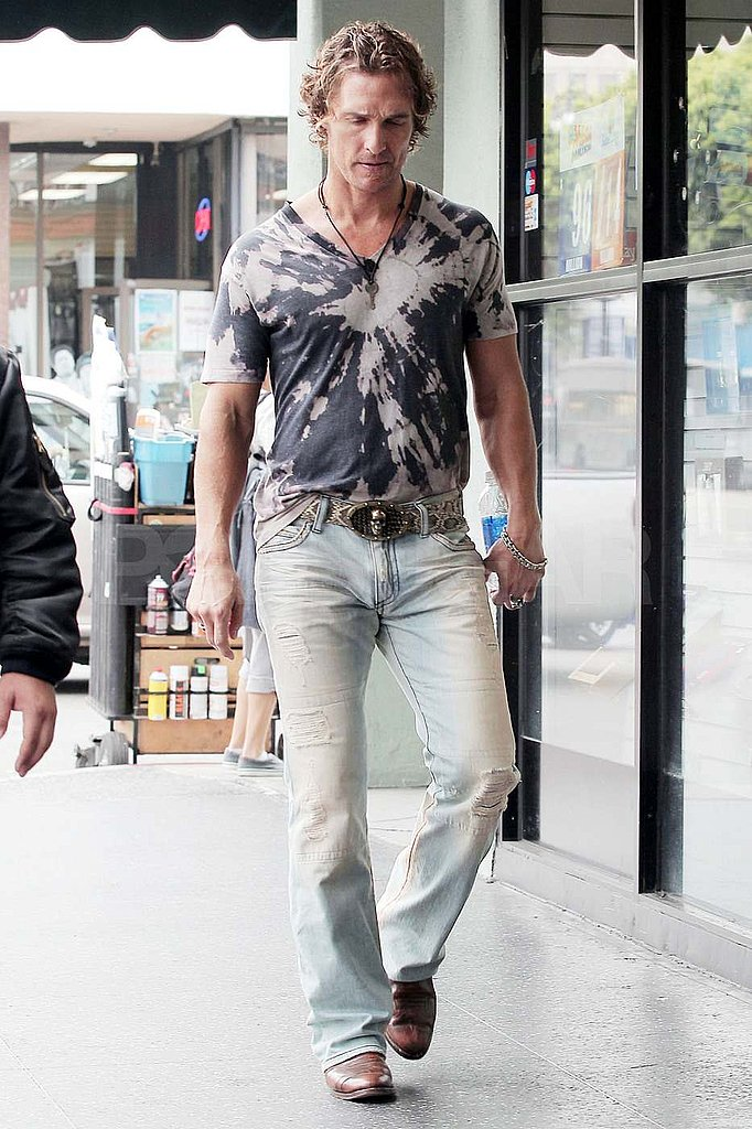 Matthew McConaughey wears tie-dye on set in LA.