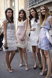 Check out this day-shimmer gang in feathered, fringed, and sequined little dresses.