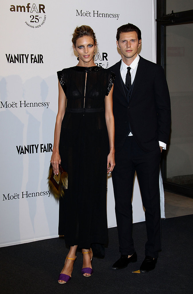 Anja Rubik and husband Sasha Knezevic looked sleek in their all-black ensembles.
