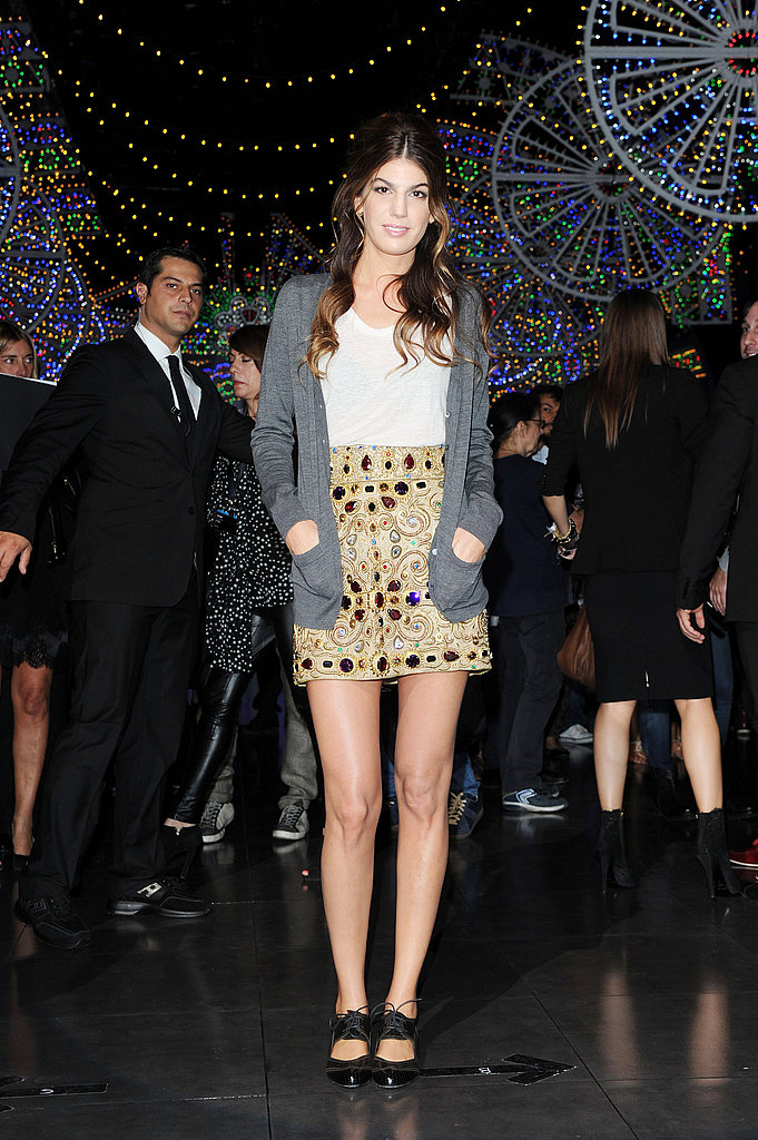 Bianca Brandolini d'Adda wore the Dolce & Gabbana same skirt at the brand's runway show.