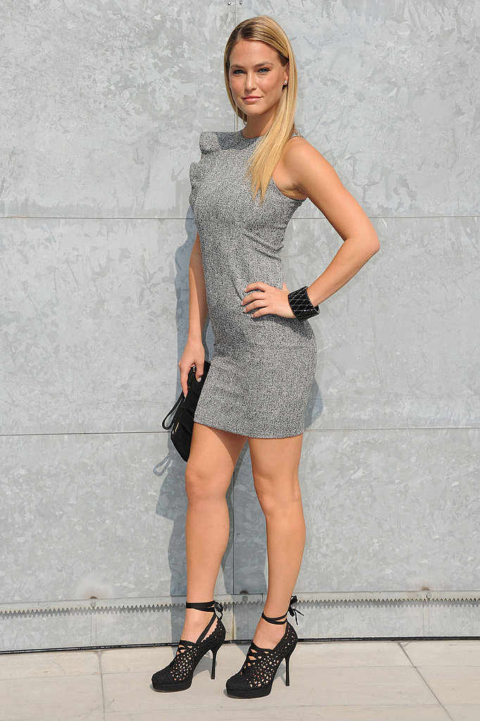 Bar Rafaeli showed off a chic look at the Emporio Armani show.