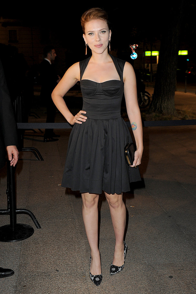 Scarlett Johansson in a sweet Dolce & Gabbana and printed pumps.
