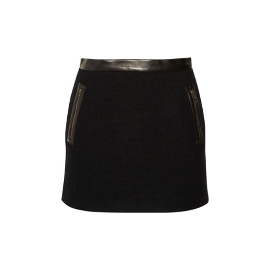 Sandro Jais Wool and Leather Mini Skirt
