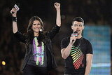 Nina Dobrev and Joe Jonas rallied a crowd of Canadian students.