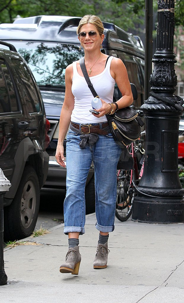 Jennifer Aniston had a healthy glow leaving her NYC apartment.