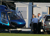 Brad Pitt arrived by helicopter to the set of World War Z.