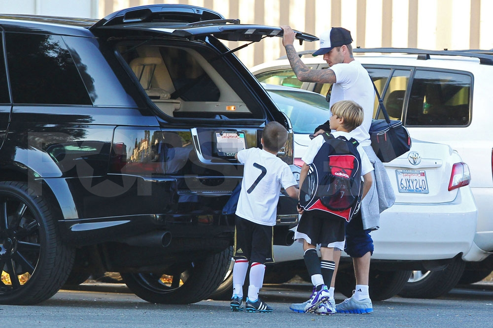 Guys' day for David Beckham, Cruz Beckham, and Romeo Beckham.