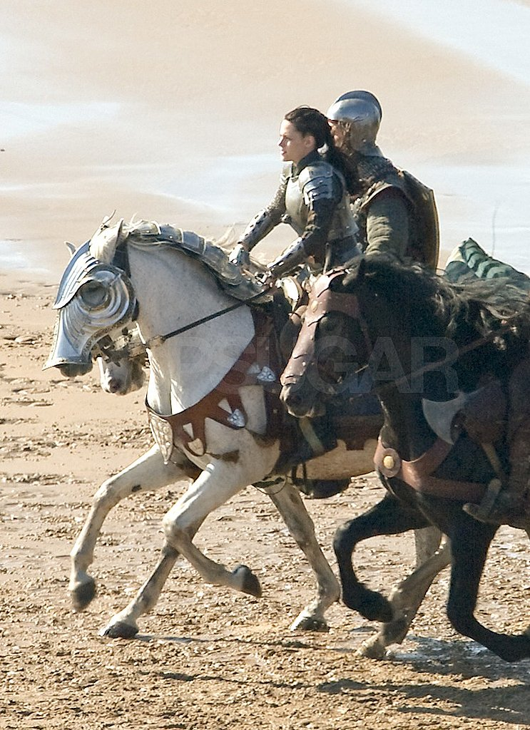 Kristen Stewart's white horse also wore battle armor.