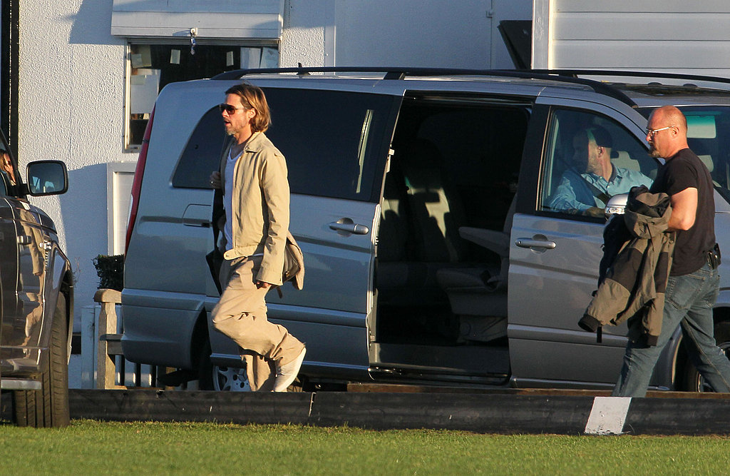 Brad Pitt got a private ride to the World War Z set.