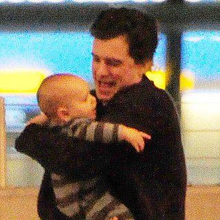 Orlando Bloom Happy Pictures Seeing Flynn and Miranda at Heathrow