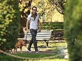 Ryan Reynolds and his dog Baxter at a park.