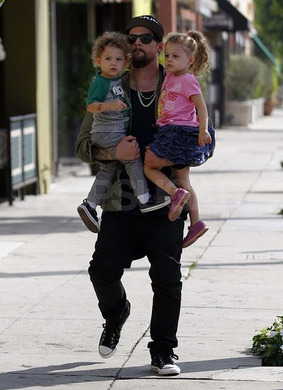 Joel Madden holds onto Harlow and Sparrow in LA.