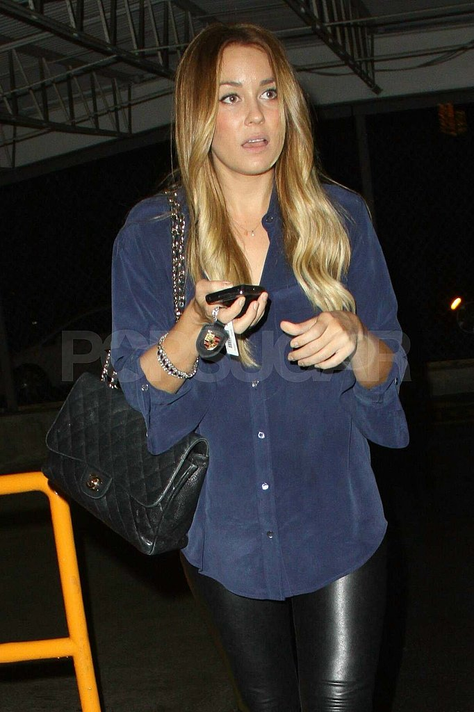 Lauren Conrad in a blue top outside of Beacher's Madhouse.