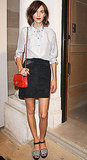 Alexa Chung amped up her classic look with an apple-red Chanel bag.