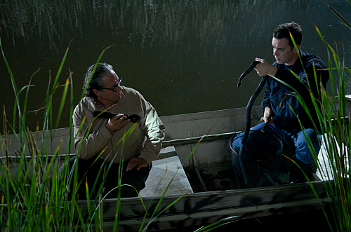 Edward James Olmos as Professor Gellar and Colin Hanks as Travis Marshall on Dexter. Photo courtesy of Showtime