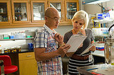 C.S. Lee as Vince Masuka and Brea Grant as Ryan Chambers on Dexter. Photo courtesy of Showtime
