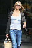 Cameron Diaz goes to a NYC salon.